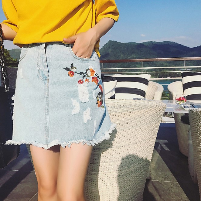 Ripped women jeans skirt embroidered dress for teens fashion broken edges jeans