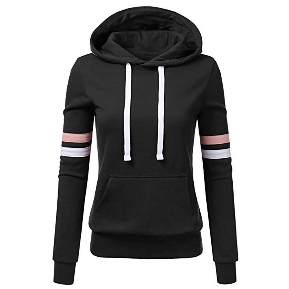 Womens Tops and Blouses Clearance Women Stripe Sweatshirt Long Sleeve Blouse Hooded Pocket Pullover Tops Shirt