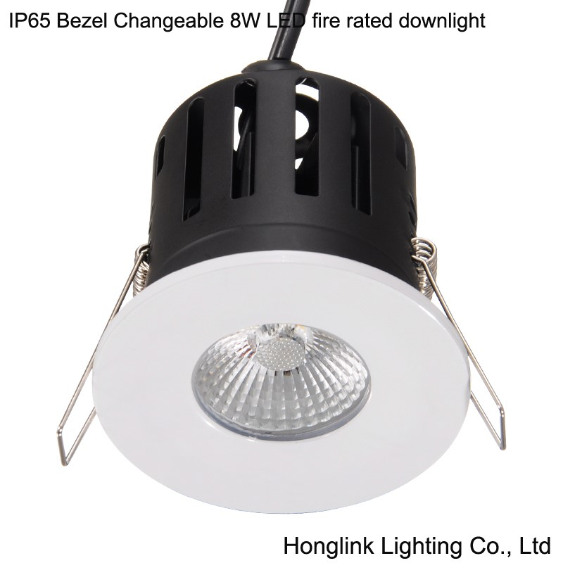 IP65 Bezel changeable fire rated 8W LED recessed ceiling down light