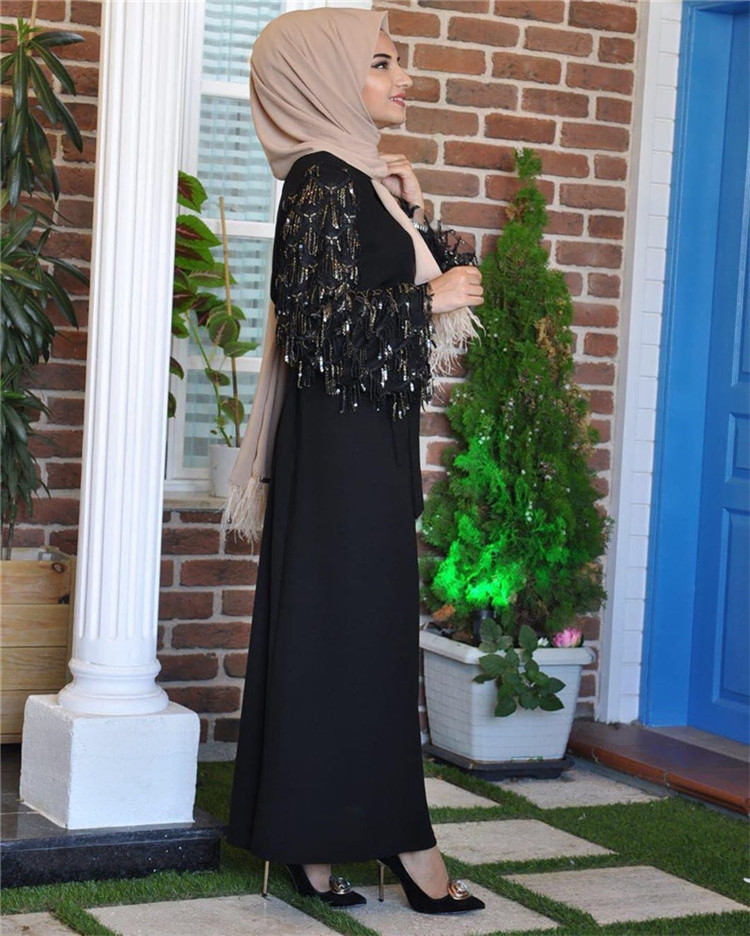 2019 New arrival wholesale soft crepe muslim maxi dress with beling beling