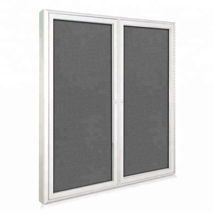 aluminum frame fabric back lockable notice bulletin board