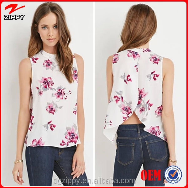 2015 New arrival designer fashion tops and floral tulip-back tops for women e82a2abf38b7a