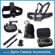 Sj4000 Go pro Camera Accessorie+Containing Box Case+Telescopic Handheld Monopod+Tripod Mount+Screw+Bag For Gopro Hero 3/2/1/3+
