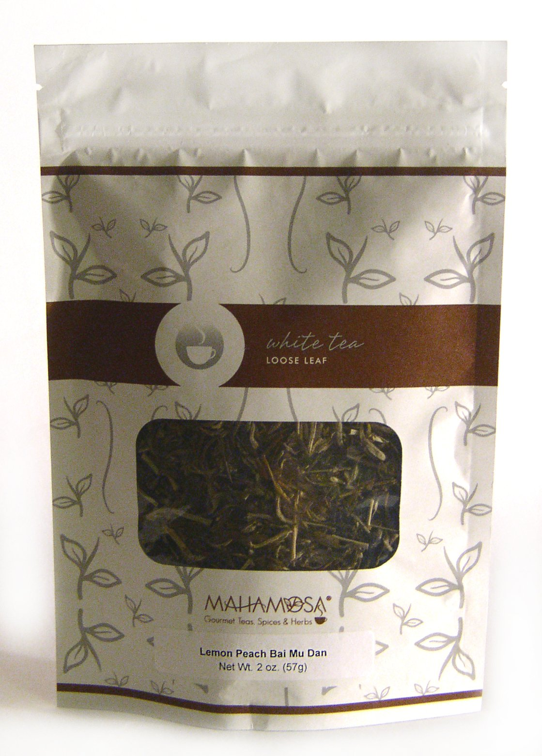 Mahamosa Lemon Peach White Tea (Bai Mu Dan) 2 oz, Loose Leaf White Tea Blend (pai mu tan tea, bai mudan tea) (with lemongrass, peach pieces, peach flavor)