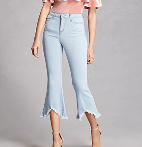 New fashion women cropped flare jeans pants with frayed hem girls Frayed Flared Jeans