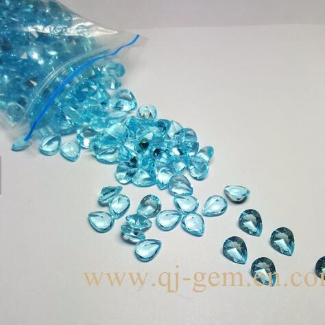 Wholesale pear beautiful cut blue glass polished fake gem <strong>stone</strong> price in China