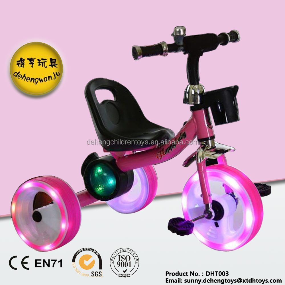 steel frame cheap baby tricycle with light and music, led lights wheels baby tricycle
