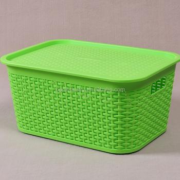 Plastic Rattan Style Storage Tub   Green