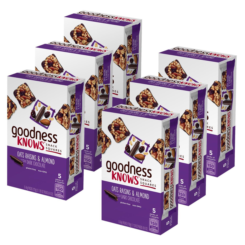 goodnessKNOWS Oats, Raisins, Almond & Dark Chocolate Gluten Free Snacks Square Bars 5-Count Box (Pack of 6)