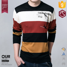 Super high quality OEM wholesale screen printing stripe full sleeve t shirt for men
