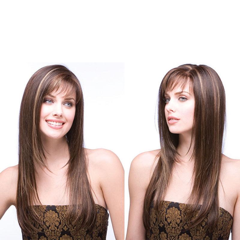 Cheap style highlights find style highlights deals on line at get quotations new sexy womens brown long straight highlights hair wig cap nature style cost play wigs pmusecretfo Image collections