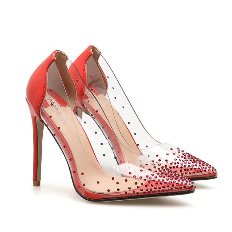 553db33e5a WETKISS Baratos Por Atacado Fantasia Nupcial Sapatos de Casamento Strass  Bombas de Salto Alto Sapatos Transparentes