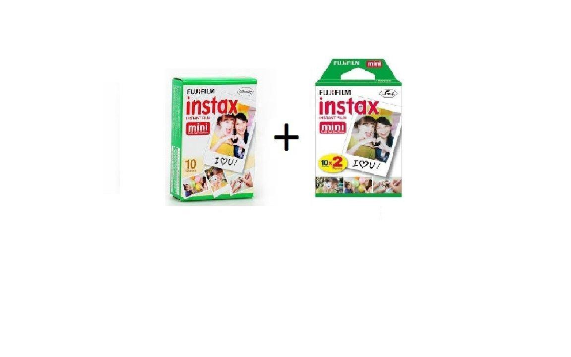 Fujifilm Instax Mini Instant Film, 30 sheets BUNDLE Includes Qty 1 Instax Mini Twin 10 Sheets x 1 Pack = 20 Sheets + Instax Mini Single 10 Sheets: Total 30 Pictures