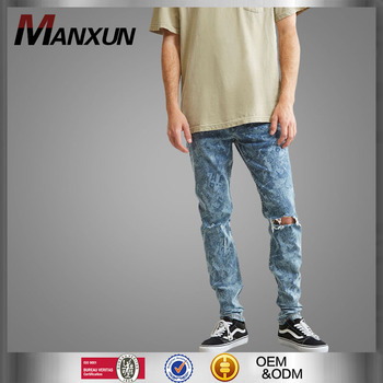 New arrival fashion men printed skinny jeans denim fabric stretch trousers