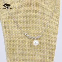 Micro pave jewelry manufacture customized rhodium plating 925 silver pearl necklace