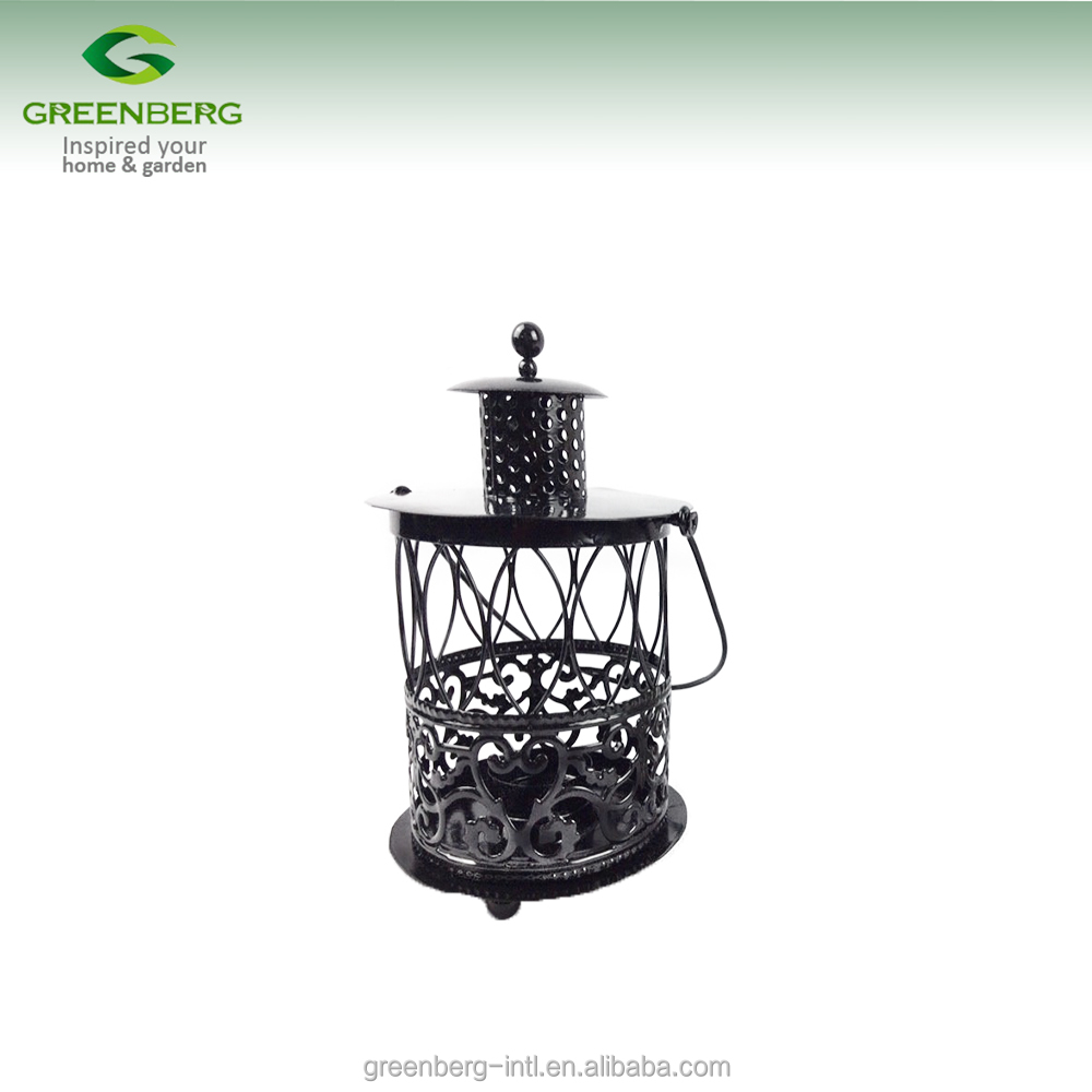 High Quality Black And White Decorative Antique Metal Candle Holder Lantern