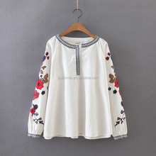 New women's fashion All-match folk style shirt embroidered flowers Lady top Casual shirt