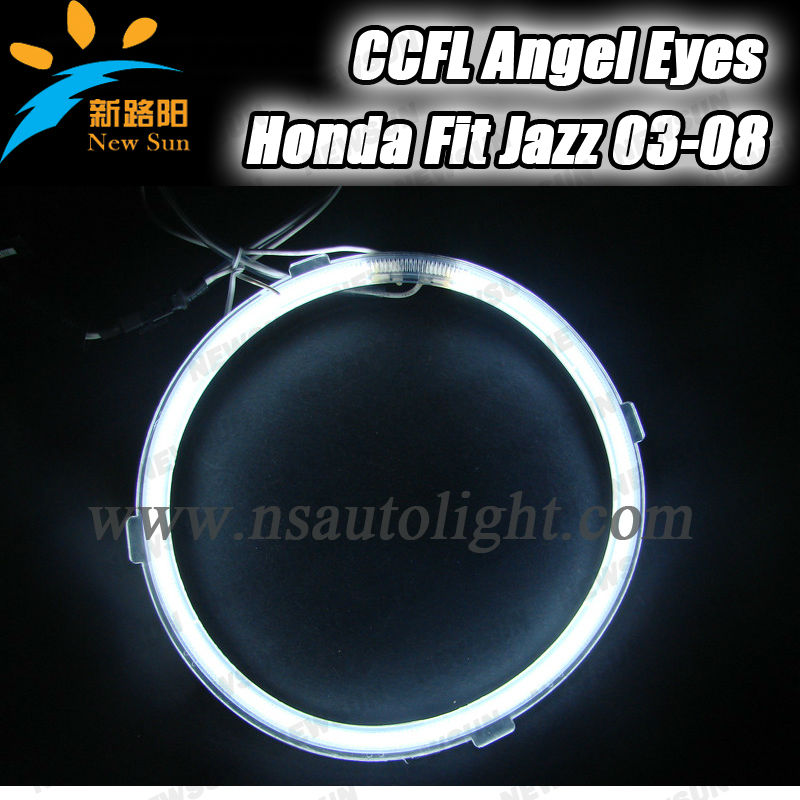 4 rings 2 inverters one set CCFL angel eyes ring for Honda Fit 03-08 8000k super bright good performance car headlamps