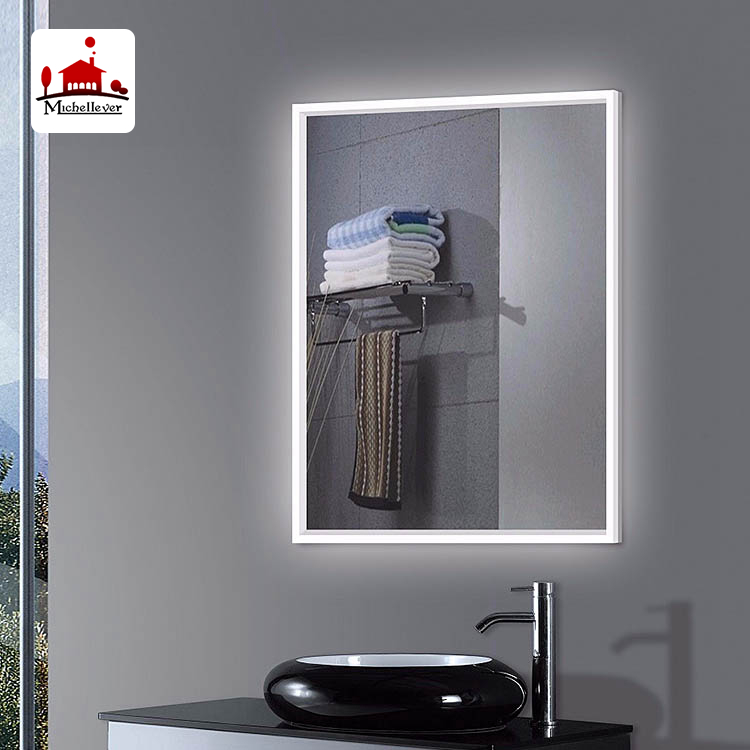 Silver rectangular hairdressing wall mirrors 80x60cm wall mount lighted backlit led bathroom mirror