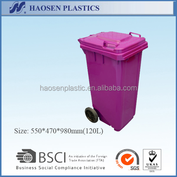 120L Plastic Waste bin garbage bin wheeli bins with two wheels