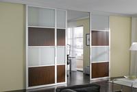 2017 wrought iron three panel sliding door design with hardware