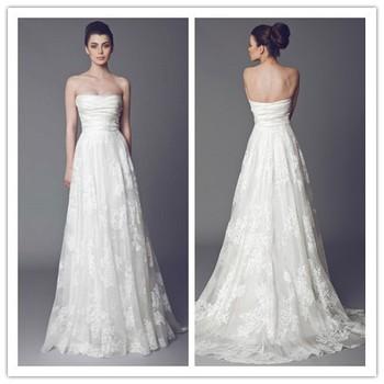 Latest Design Elegant Strapless Lace Bridal Wedding Dress Wedding ...