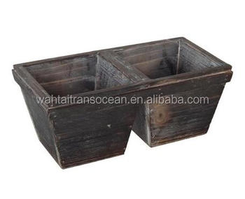 Wooden Tapered Box Wood Flower Storage Planters And Pot Rustic Buy