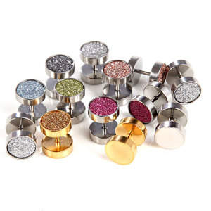 Fashion Silver/Gold/Rose/Champagne Colors Glitter Paper Studs Stainless Steel Dumbbell Stud Earrings