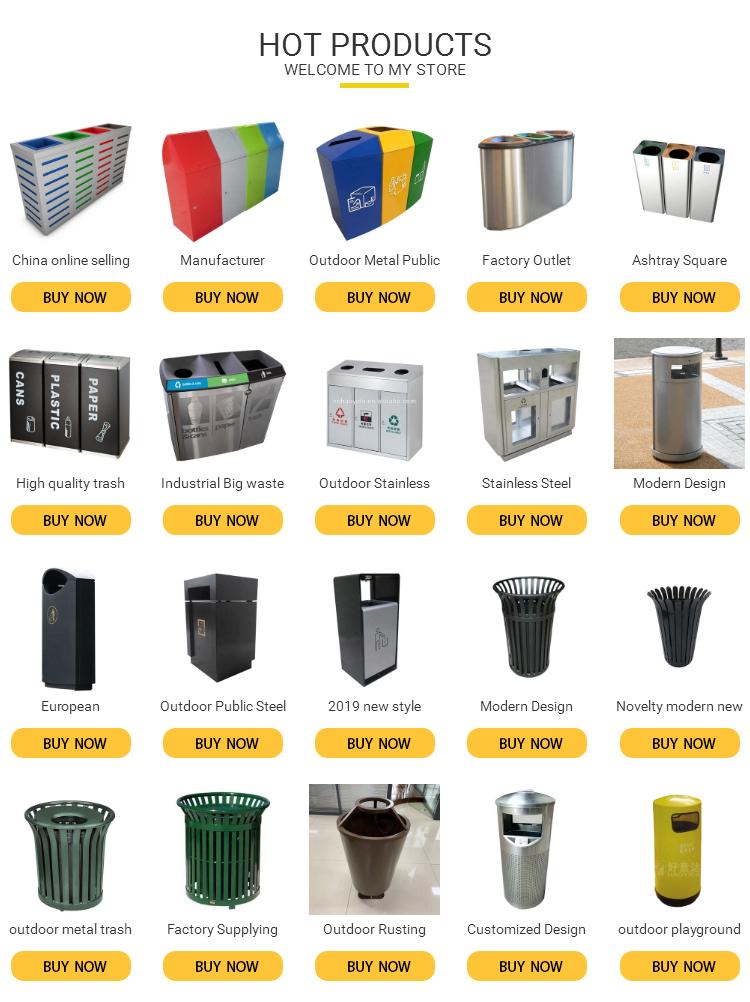 Public new design trash can classify dust bin 2 compartments waste garbage sorted bin