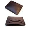 100% full grain vegetable tanned leather card holder wallet slim card holder