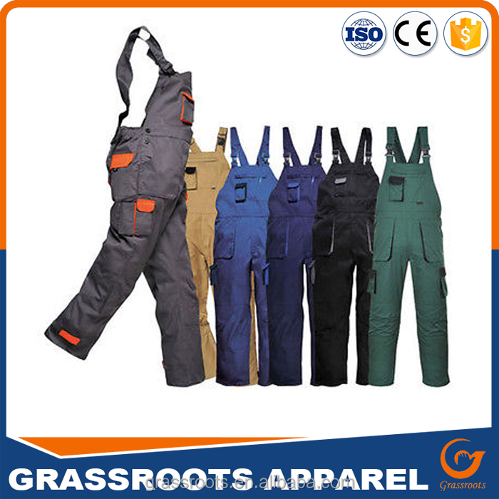 Cheap Price Contrast Colors Overalls Bib And Brace Trousers Dungarees For Sale