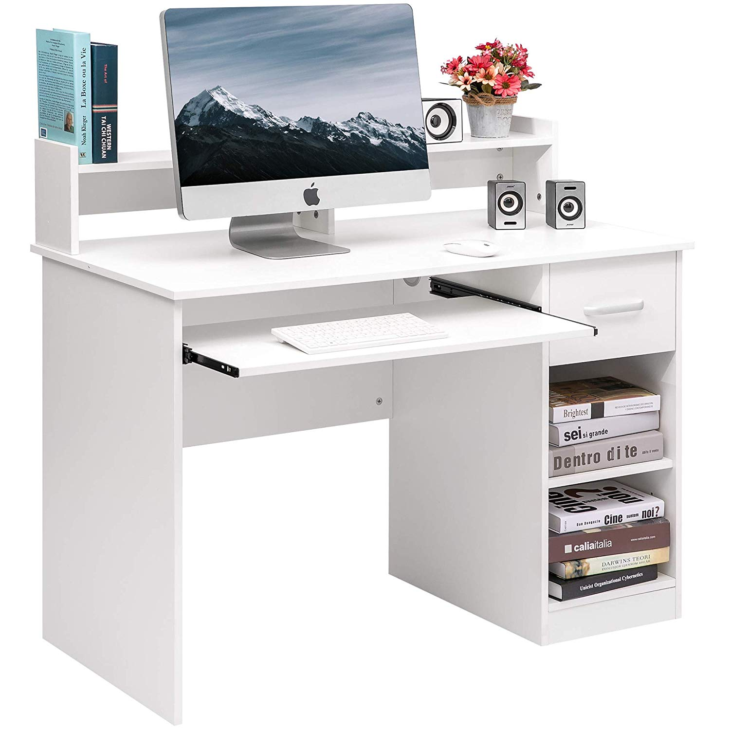 Computer Desk Office Home Furniture Writing Desk Hutch Keyboard Tray, White, Office Furniture, Rectangular Shape, Flexible Drawer, Bundle Our Expert Guide Tips Home Arrangement