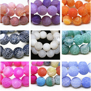 Nature Stone Frost Cracked Dream Fire Dragon Veins Agate Beads 4 6 8 10mm