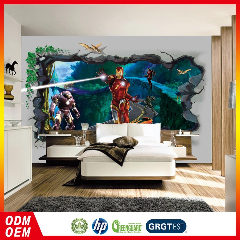 3d Iron Man Desain Kartun Wallpaper Dinding Mural Anak Dinding