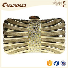 CR 80% customers repeat orders hollowed-out rectangle shape gold color new fancy clutch bag evening