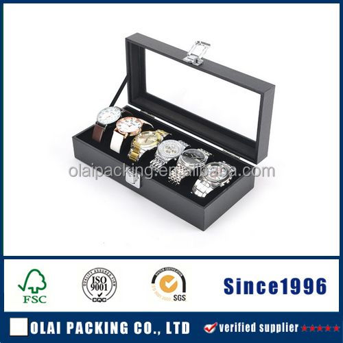 6 Units Pretty Watch Box With Lid,PU Leather Watch Display Storage Case,Display Case With Lock