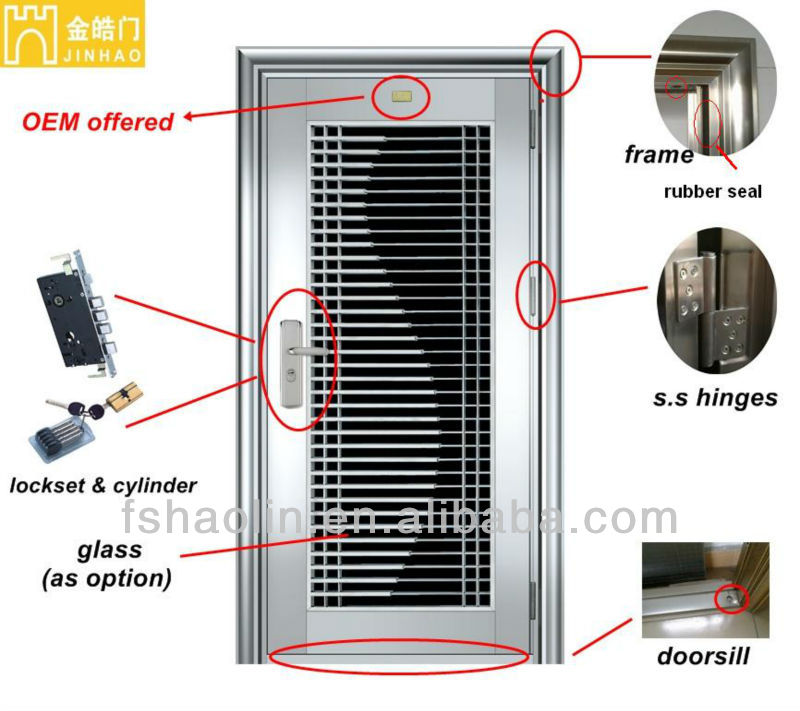 2015 Hot Sale Customized Stainless Steel Front Safety Door Design JH366
