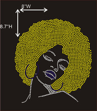 Gelb Haar Afro Dame Iron on Hot Fix Rhinestoneübergangsmotiv Designs