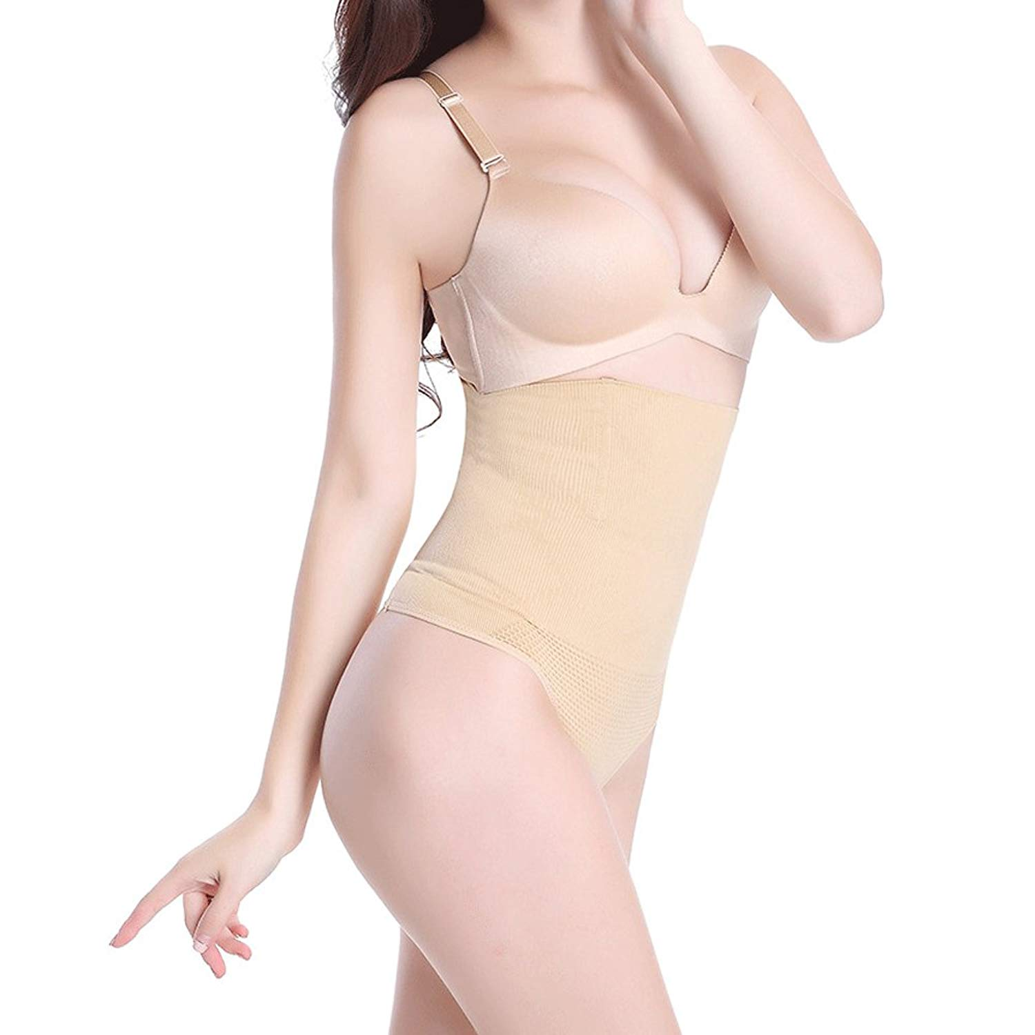 b7dbf720d50 Get Quotations · Pop Fashion Womens Shapewear Thong Panties Bodysuit High Waist  Tummy Control Body Shaper Thong Underwear MSRP