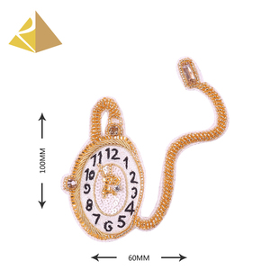 Customized High Quality Metallic Wires Hand Embroidery French Gold Pocket Watch Badge