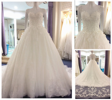 Elegant Vestidos De Noiva Real Cap Sleeve 3D Flower Crystal Appliques Puffy  White Lace Wedding Dress dac7b3c7714a