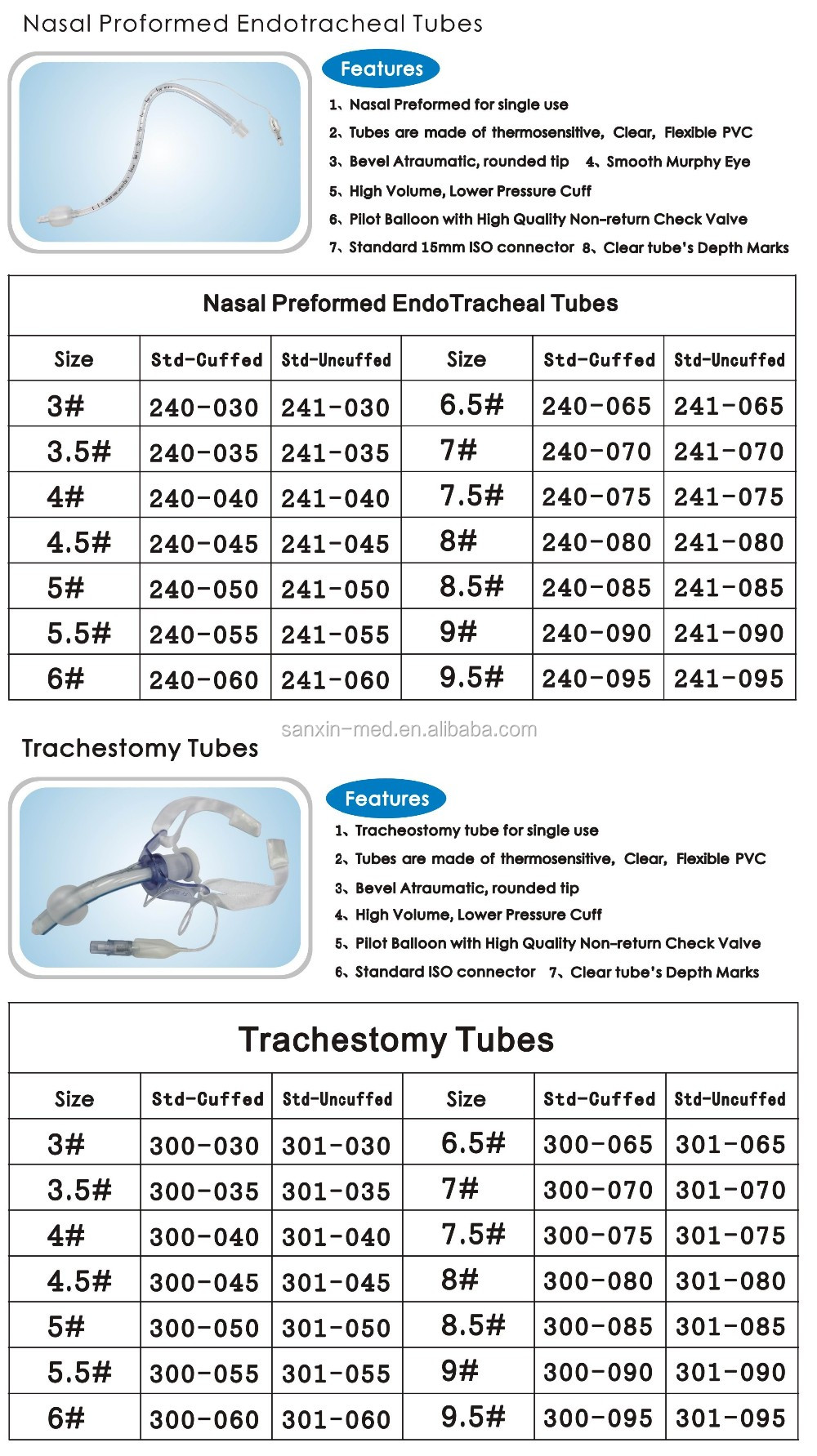 Endotracheal Tube Series Different Types Tracheostomy Tube