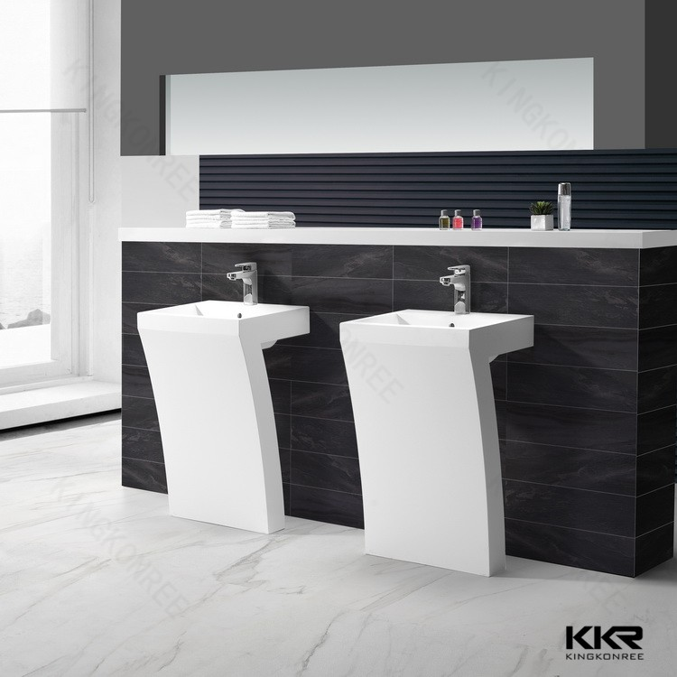 White And Black Acrylic Solid Surface Floor Stand Bathroom Sinks ...