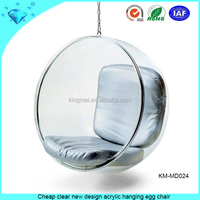 Cheap clear new design acrylic hanging egg chair