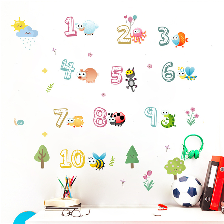 Cartoon number educational wall sticker children's room nursery living room decoration pvc waterproof removable wall decal
