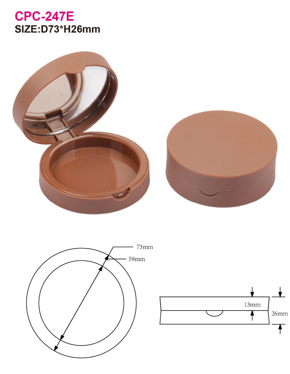 2016 new style cosmetic make your own plastic empty compact case/compact packaging for wholesale