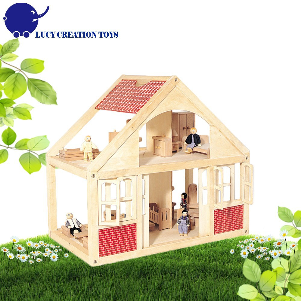 Wooden Two Floor Happy Family Doll House Buy Wooden Happy