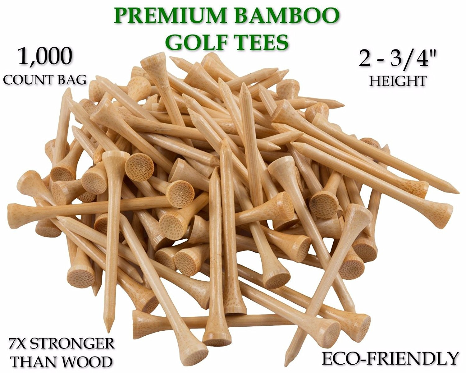 "1,000 Bamboo Golf Tees 7x Stronger than Wood 2-3/4"" Height - PGA Approved"