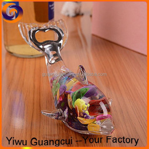 Transparent Crystal sea animal Whale bottle opener fill with oil