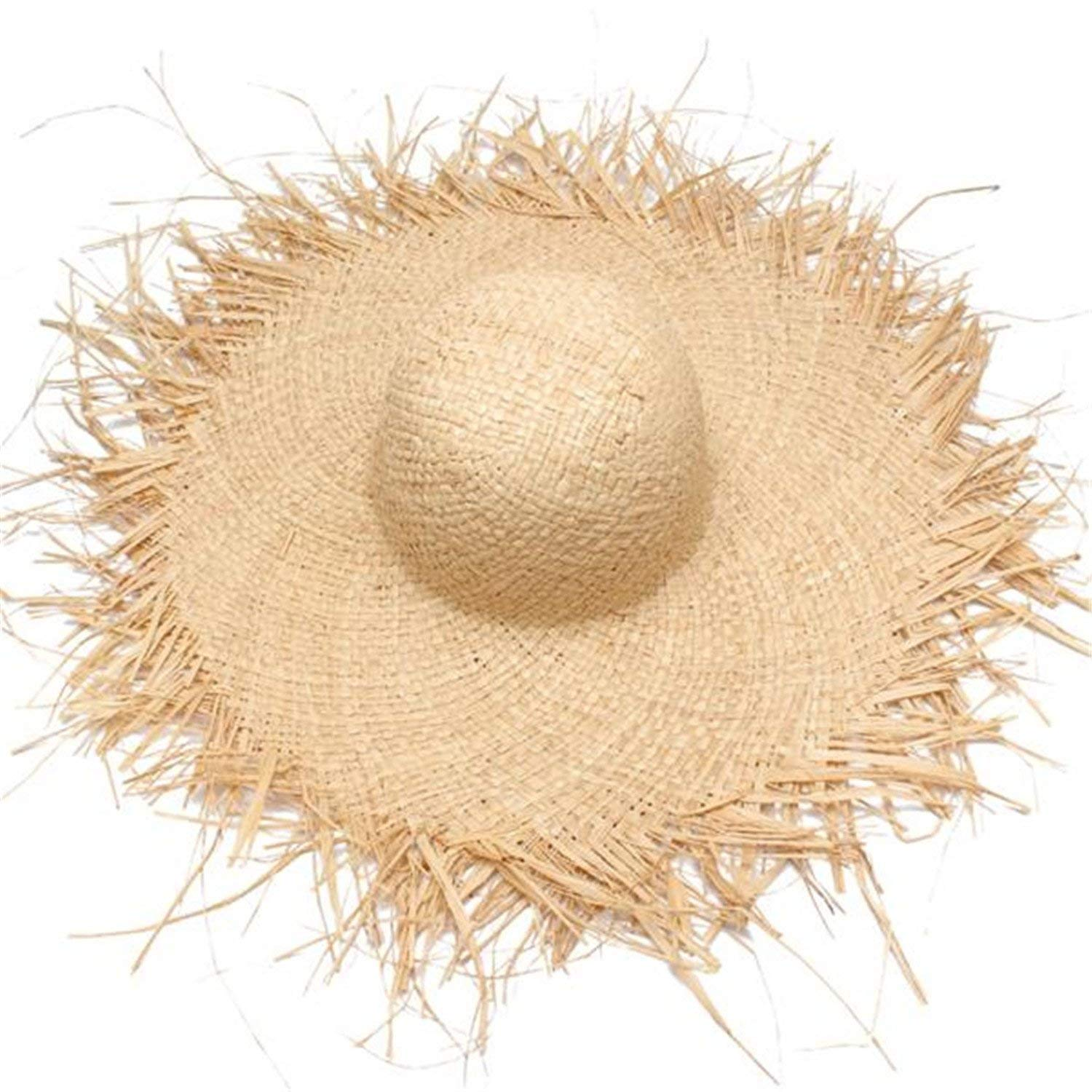 Get Quotations · Zachaomero Women Summer Sun Hat with A Large Brim Raffia Straw  Hat Fringe Big Beach Hats 66d354d0616f